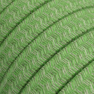 Płaski przewód w zielonym oplocie  Cotton fabric Pixel Bronte CX08 odpowiedni do systemu Filé i Lumet Creative-Cables