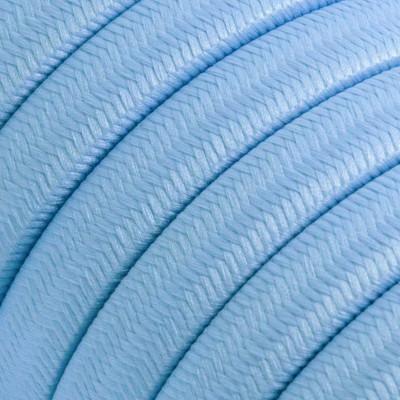 Płaski przewód w błękitnym oplocie Rayon fabric Baby Azure CM17 odpowiedni do systemu Filé i Lumet Creative-Cables