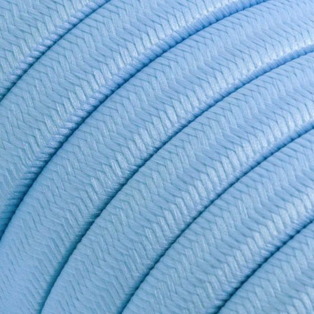 Rayon fabric Baby Azure CM17 light blue braided flat cable suitable for Filé and Lumet systems Creative-Cables