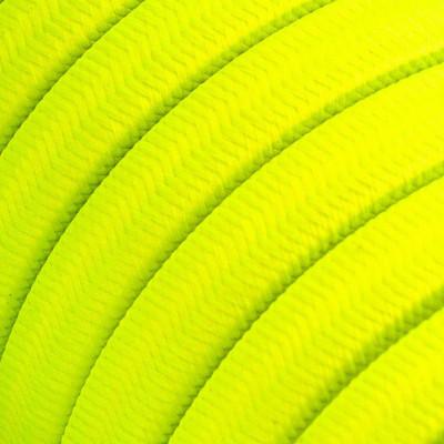 Płaski przewód w żółtym oplocie Rayon fabric Yellow Fluo CF10 odpowiedni do systemu Filé i Lumet Creative-Cables