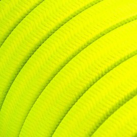 Rayon fabric Yellow Fluo CF10 yellow braided flat cable suitable for Filé and Lumet systems Creative-Cables