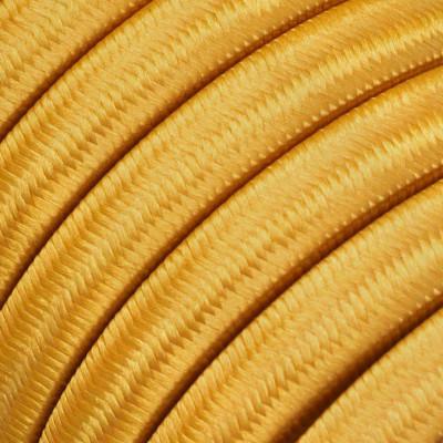 Płaski przewód w złotym oplocie Rayon fabric Gold CM05 odpowiedni do systemu Filé i Lumet Creative-Cables