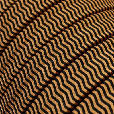 Płaski przewód w kolorowym oplocie Rayon fabric ZigZag Black-Whiskey CZ22 odpowiedni do systemu Filé i Lumet Creative-Cables