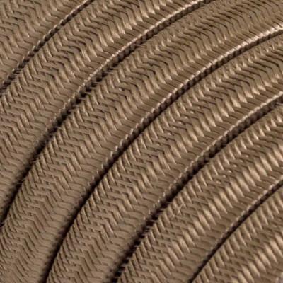 Płaski przewód w brązowym oplocie Rayon fabric Cipria CM27 odpowiedni do systemu Filé i Lumet Creative-Cables