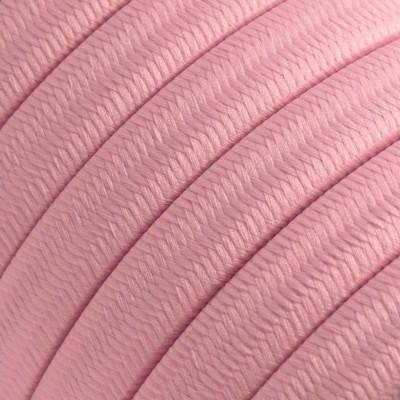 Płaski przewód w różowym oplocie Rayon fabric Baby Pink CM16 odpowiedni do systemu Filé i Lumet Creative-Cables