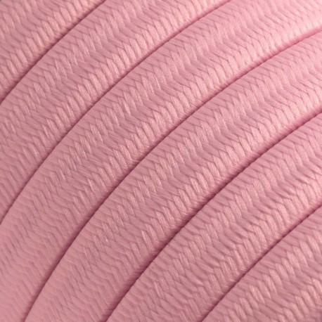 Rayon fabric Baby Pink CM16 pink braided flat cable suitable for Filé and Lumet systems Creative-Cables