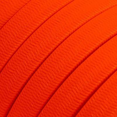 Płaski przewód w pomarańczowym oplocie Rayon fabric Orange Fluo CF15 odpowiedni do systemu Filé i Lumet Creative-Cables