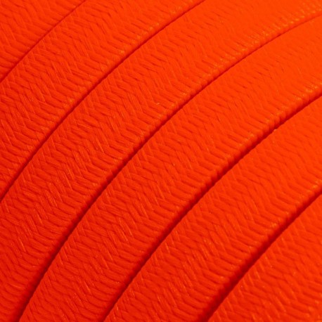 Rayon fabric Orange Fluo CF15 orange braided flat cable suitable for Filé and Lumet systems Creative-Cables