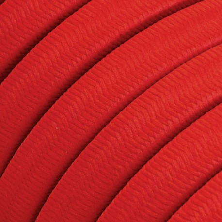 Rayon fabric Red CM09 red braided flat cable suitable for Filé and Lumet systems Creative-Cables