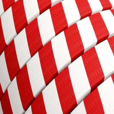 Płaski przewód w biało czerwonym oplocie Candy Cane fabric ECM39 odpowiedni do systemu Filé i Lumet Creative-Cables