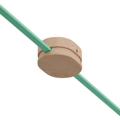 Filé system drewniana maskownica sufitowa z dwoma otworami bocznymi do płaskiego przewodu Creative-Cables