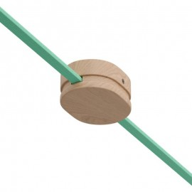 Oval wooden canopy with 2 side holes for string light cable and Filé system. Made in Italy Creative-Cables