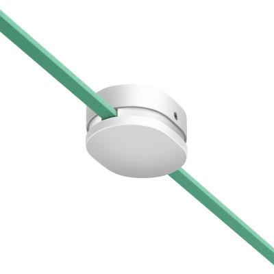 Filé system biała drewniana maskownica sufitowa z dwoma otworami bocznymi do płaskiego przewodu Creative-Cables