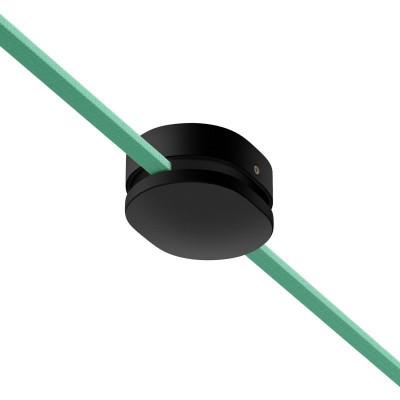 Filé system czarna drewniana maskownica sufitowa z dwoma otworami bocznymi do płaskiego przewodu Creative-Cables