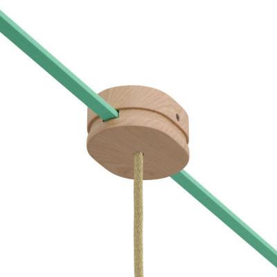 Filé system drewniana maskownica sufitowa 2 otwory boczne do płaskiego przewodu i 1 centralny na okrągły Creative-Cables