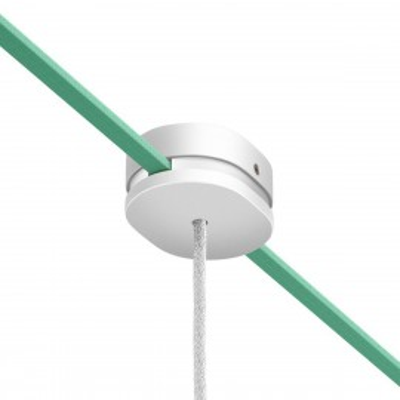 Filé system biała drewniana maskownica sufitowa 2 otwory boczne do płaskiego przewodu i 1 centralny Creative-Cables