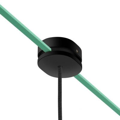 Filé system czarna drewniana maskownica sufitowa 2 otwory boczne do płaskiego przewodu i 1 centralny Creative-Cables