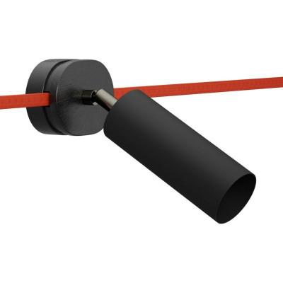 Regulowany reflektor Fermaluce Filè czarny kinkiet z metalową tubą E14 Creative-Cables