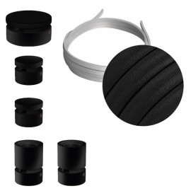 Filé System Wiggle Kit - with 3m string light cable and 5 indoor black varnished wooden components