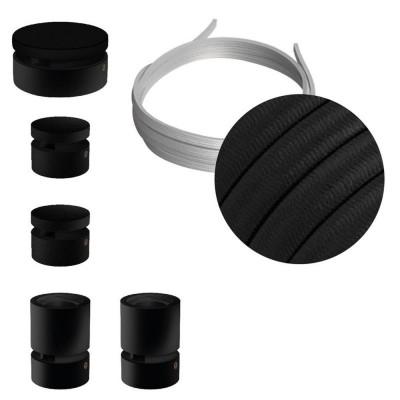 Filé System Wiggle Kit - zestaw z 3m przewodem świetlnym i 5 czarnymi lakierowanymi drewnianymi elementami Creative-Cables