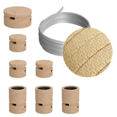 Filé System Linear Kit - zestaw z 5m przewodem świetlnym i 7 drewnianymi elementami do użytku wewnątrz Creative-Cables