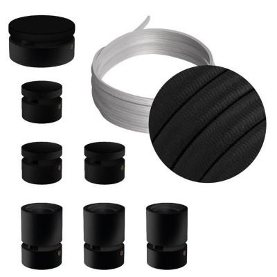 Filé System Linear Kit - zestaw z 5m przewodem świetlnym i 7 czarnymi lakierowanymi drewnianymi elementami Creative-Cables