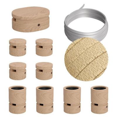 Filé System Linear Kit - zestaw z 5m przewodem świetlnym i 9 drewnianymi elementami do użytku wewnątrz Creative-Cables