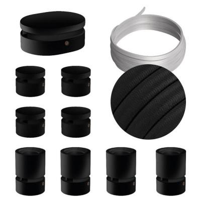 Filé System Symmetric Kit - zestaw z 5m przewodem świetlnym i 9 czarnymi lakierowanymi drewnianymi elementami Creative-Cables