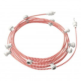 Ready-to-use 12,5m Lumet String Light with Kit with 10 white Lamp Holders, Hook and Plug Creative Cables