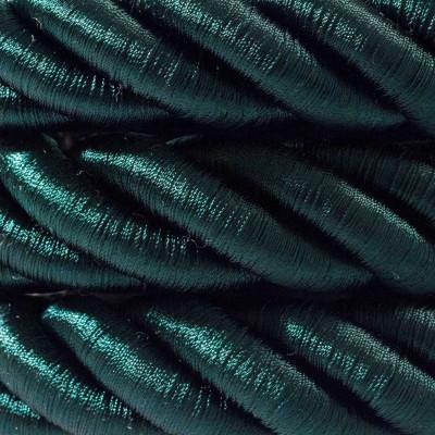 2XL ciemno zielony błyszczący kabel skręcany w podwójnym oplocie tekstylnym trzyżyłowy 3x1x0.75 Creative Cables