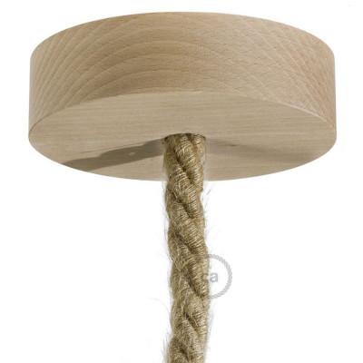Drewniana maskownica sufitowa jednootworowa do przewodów XL Creative-Cables