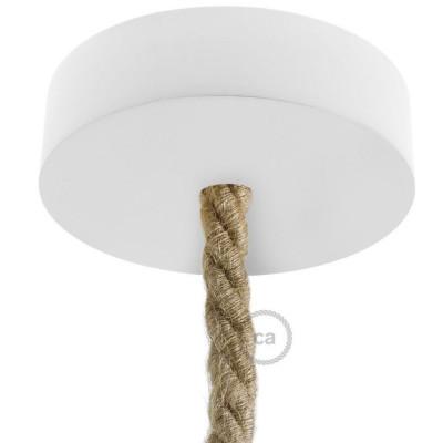 Drewniana biała maskownica sufitowa jednootworowa do przewodów XL Creative-Cables