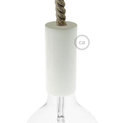 Biała drewniana oprawka E27 do przewodów XL Creative-Cables