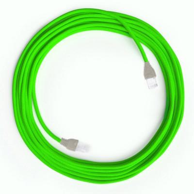 Jaskrawozielony Kabel Ethernet LAN Cat 5e z wtykami RJ45 - Rayon Fabric RF06 Neon Green - długość 5m Creative-Cables