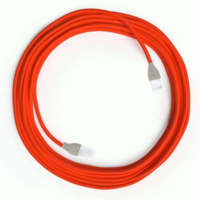 Pomarańczowy Kabel Ethernet LAN Cat 5e z wtykami RJ45 - Rayon Fabric Rayon RF15 Neon Orange - długość 1m Creative-Cables