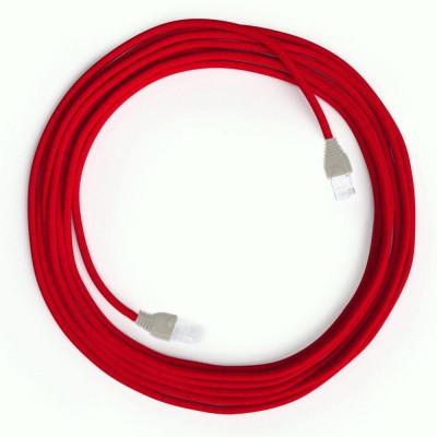 Czerwony Kabel Ethernet LAN Cat 5e z wtykami RJ45 - Rayon Fabric Rayon RM09 Red - długość 2m Creative-Cables