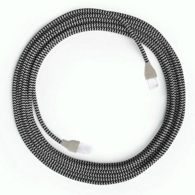 Kabel Ethernet LAN Cat 5e z wtykami RJ45 - Rayon Fabric Rayon RZ04 ZigZag White Black - długość 1m Creative-Cables