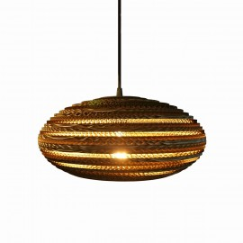 Ceiling oval hanging lamp made of cardboard - STONE 35 ecological lamp SOOA