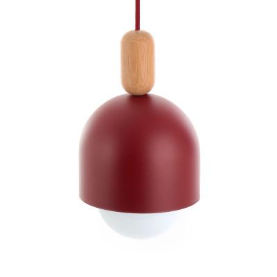 Loft Ovoi burgundowa lampa wisząca KOLOROWE KABLE
