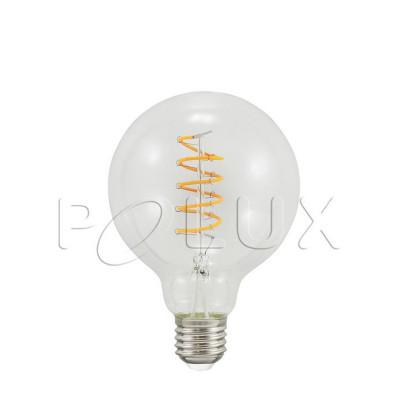 Dekoracyjna żarówka LED G95 4W przezroczysta barwa bardzo ciepła 2200K Polux