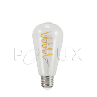 Dekoracyjna żarówka LED ST64 4W przezroczysta barwa bardzo ciepła 2200K Polux