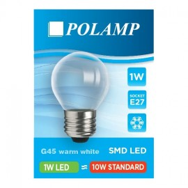 Plastic transparent light bulb for garlands WITHOUT FILAMENT LED ball 45mm 1W warm color Polamp