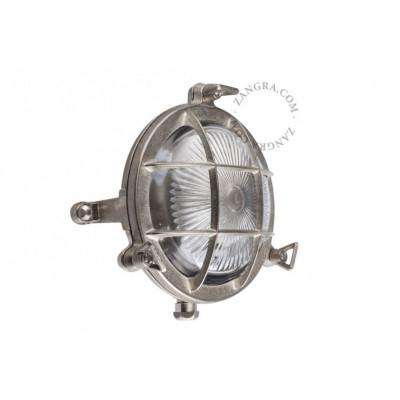 Wall lamp, nickel-plated - brass 'bulkhead' fixture light.o.083.002 Zangra