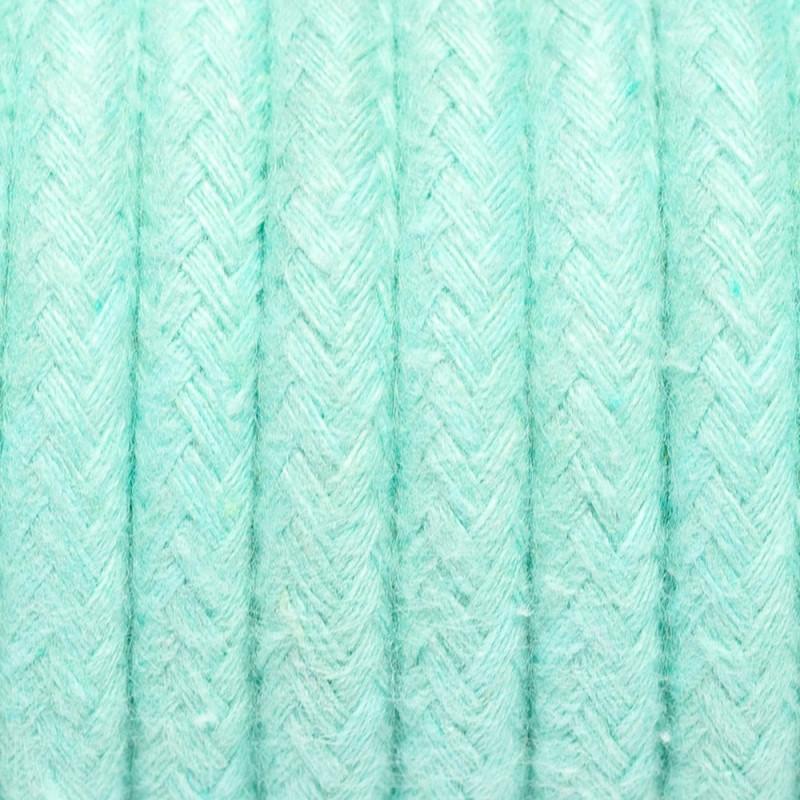 Kabel w oplocie bawełnianym B07 miętowy marmur dwużyłowy 2x0.75