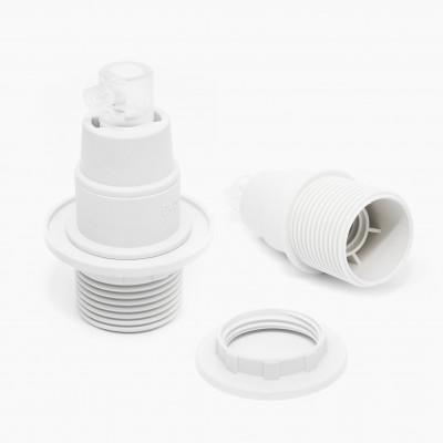 Oprawka plastikowa biała E14 z pierścieniem
