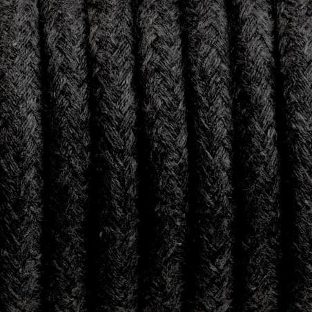 Czarny kabel w oplocie bawełnianym B04 węgiel kamienny trzyżyłowy 3x0.75 Kolorowe Kable