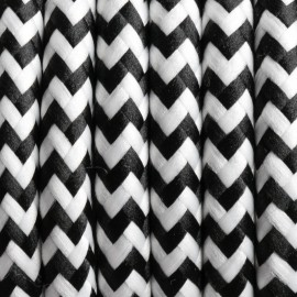 Round electric cable covered by polyester zigzag 29 Steppe zebra 2x0.75