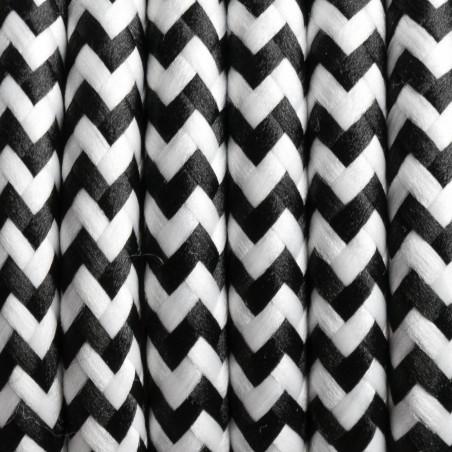 Czarno biały kabel w oplocie poliestrowym 29 zebra pręgowana dwużyłowy 2x0.75 Kolorowe Kable