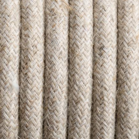 Beżowy kabel w oplocie lnianym L01 dwużyłowy 2x0.75 Kolorowe Kable