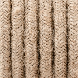 Round electric cable covered by Natural Jute J02 2x0.75